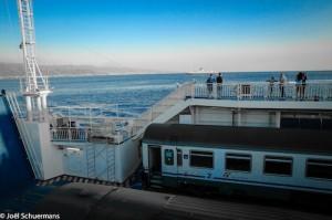 Sur le ferry entre Villa San Giovanni et Messina