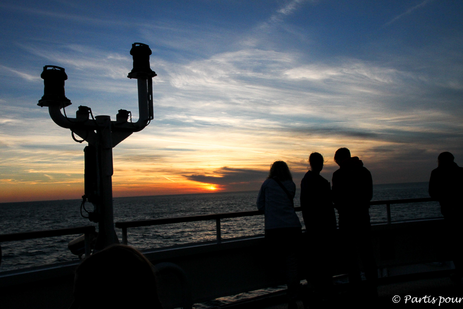 Coucher de soleil, Traversée Douvres - Dunkerque, DFDS Seaways