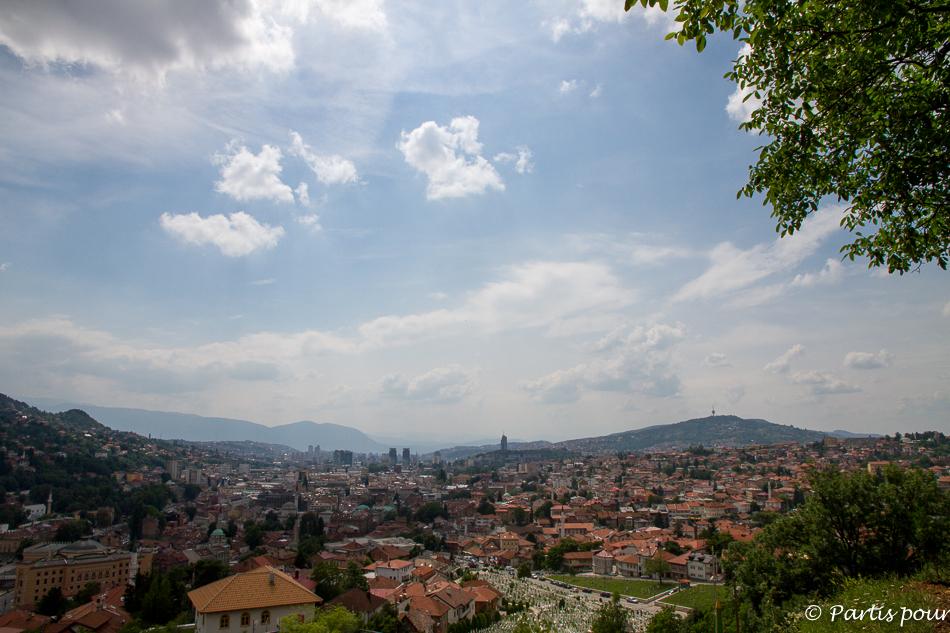 Vue sur Sarajevo depuis la Zuta Tabija. Trois semaines à Sarajevo