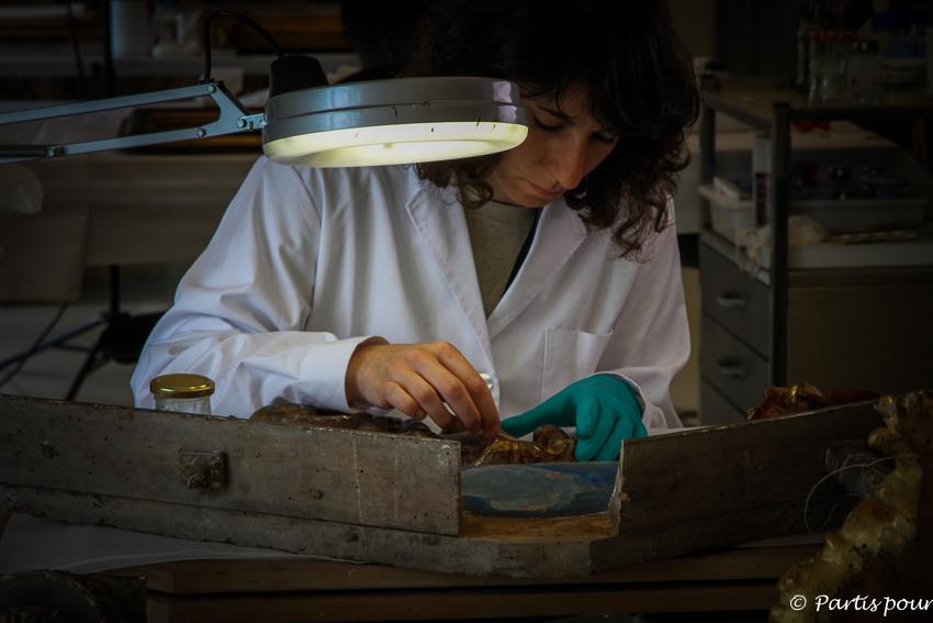 Bilan 2015. Atelier de restauration du Musée d'Art National de Catalogne. Barcelone. Espagne