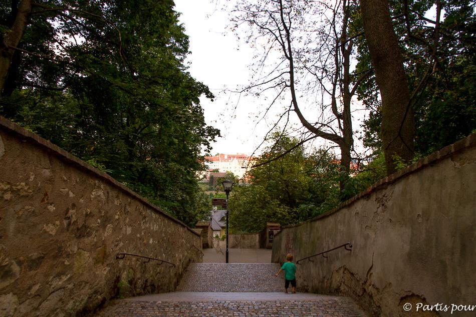 Marches de Petrin. Prague avec un enfant.