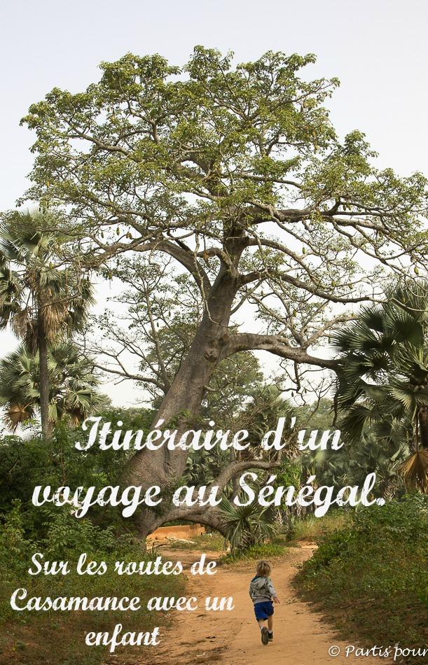 Itinéraire d'un voyage au Sénégal. Sur les routes de Casamance avec un enfant