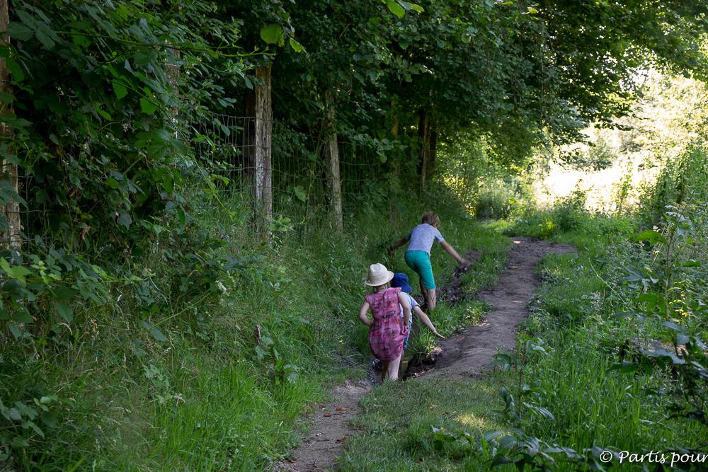 Marchons dans la boue sur le Sentier Pieds nus de la Ferme de la Planche. La province de Luxembourg en famille