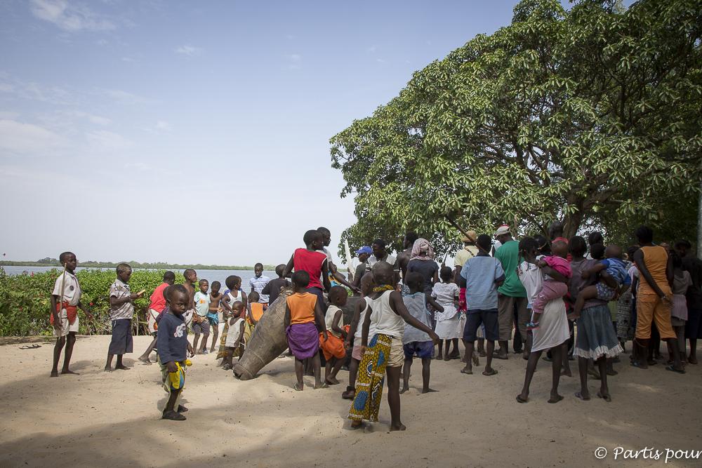 Danse traditionnelle diola, l'Ekonkone, à Cachouane, Casamance. Sénégal