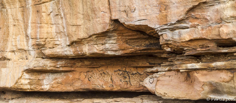 Peintures rupestres à Kangaba, Bamako, Mali. Billet de Bamako #3