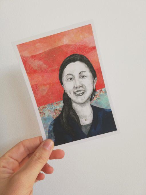 Carte postale Keiko tirée de Japonaises. Celles qui éclairent le ciel de Florence Plissart aux Editions Partis Pour