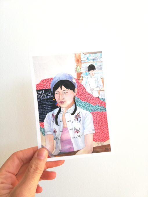"""Carte postale """"Sugar"""" tirée de """"Japonaises. Celles qui éclairent le ciel"""" de Florence Plissart aux Editions Partis Pour"""