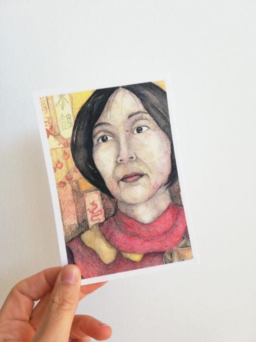 """Carte postale """"Tomoko"""" tirée de """"Japonaises. Celles qui éclairent le ciel"""" de Florence Plissart aux Editions Partis Pour"""