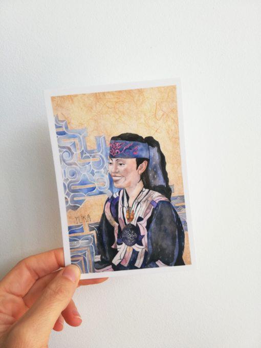 """Carte postale """"Yuka"""" tirée de """"Japonaises. Celles qui éclairent le ciel"""" de Florence Plissart aux Editions Partis Pour"""
