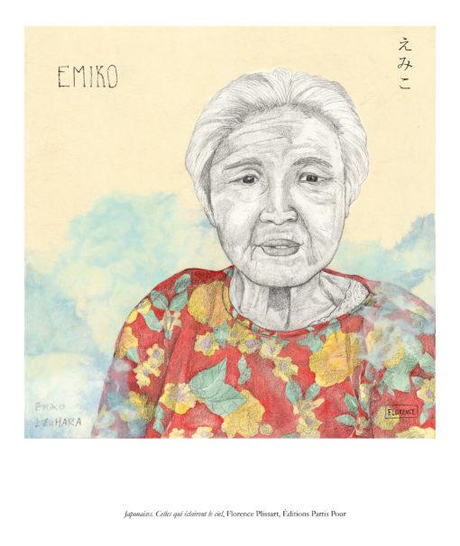 """Reproduction """"Emiko"""", une des vieilles dames de Koniya, par Florence Plissart. Extraite de """"Japonaises. Celles qui éclairent le ciel"""" aux Editions Partis Pour"""